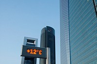 Urban thermometer and Four Towers, Paseo de la Castellana. Madrid, Spain