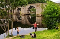 Pilgrimage way to Santiago de Compostela: medieval bridge at the village of Entraygues on the Truyere river, Aveyron, France