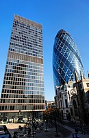 30 St Mary Axe (right) and other buildings, London, UK