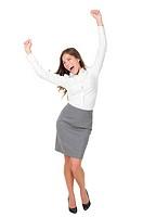 Success business woman celebrating