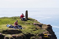 Marwick Head BIRSAY ORKNEY Tourist birdwatchers viewing RSPB Nature reserve on seacliff top