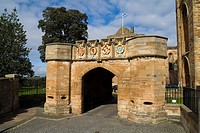 Linlithgow Palace outer gate LINLITHGOW LOTHIAN Palace entrance gateway turreted stone wall