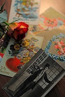 Historical photograph, flower and postcards