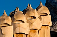 Ventilation towers on the roof of Casa Mila' or La Pedrera designed by architect Antoni Gaudi, Barcelona, Catalonia, Spain