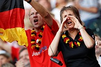 MOENCHENGLADBACH, GERMANY - JULY 5: Germany supporters cheer their team at the FIFA Women´s World Cup Group A match between France and Germany at Stad...