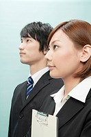 Side View of Businesswoman and Businessman