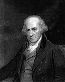 James Watt 1736_1819. Historical artwork of the Scottish engineer and inventor James Watt. Watt made numerous practical improvements to the steam engi...