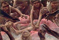 Prehistoric cannibalism. Artwork of a group of Homo antecessor early humans engaging in cannibalism. This scene is located in the Sierra de Atapuerca,...
