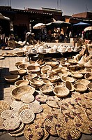 store wicker baskets and hats in the souk, Marrakech, Morocco