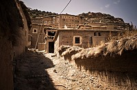 Berber village of adobe houses in the High Atlas, Azilal, Morocco
