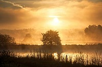 Sunrise over landscape with fish ponds in autumn, near Erlangen, Franconia, Bavaria