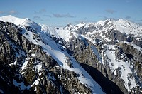 Aerial view of the Southern Alps Mountains in Fiordland National Park New Zealand