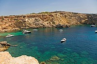 Cala Compte, beaituful paradise beach in Ibiza, Balearic Islands, Spain
