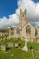 Church and graveyard, Widdecombe in the Moor, Dartmoor, Devon, England