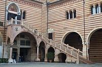Scala della Ragione stairs at Corte Mercato Vecchio square old town Verona the Veneto region northern Italy Europe