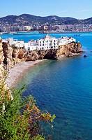 The bay and Sa Penya neighborhood in Ibiza UNESCO World Heritage City, Balearic Islands, Spain