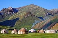 Yurts, Tash Rabat Valley, Kyrgyzstan