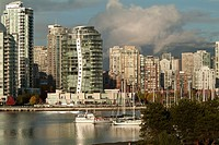 The Erickson, an apartment tower designed by architect Arthur Erickson, on False Creek, Vancouver, BC, Canada