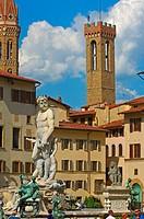 Florence, Neptune Fountain, La Signoria square, Piazza della Signoria, Tuscany, Italy.