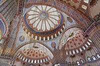 Inside the Blue Mosque, Sultanahmet, Istanbul, Turkey