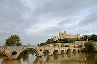 Old bridge and Cathedral Saint Nazaire with the river Orb, Beziers, France