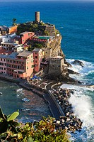 Vernazza view from Sentiero Azzurro (Light Blue Trail) from Monterosso al mare to Vernazza, Cinque Terre National Park, Province of La Spezia, Liguria...
