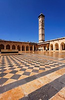 The courtyard of the Great Mosque in Aleppo, Syria