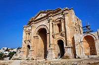 Hadrian's Arch at the Roman ruin of Gerasa, Jerash, Jordan