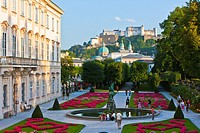 View of Hohensalzburg Castle with Mirabell Castle and Gardens in the foreground, Salzburg, Austria, Europe