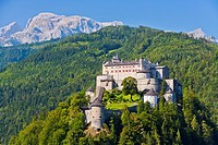 The impressive Hohenwerfen Castle with the Alpes in the background, Austria, Europe