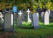 Graveyard with sign saying it is a Managed Conservation Area in Crediton, Devon, England