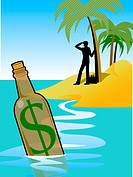 A man on an island and a bottle with a dollar sign in the foreground