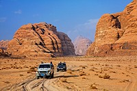 Desert safari in four wheel drive vehicles at Wadi Rum, Jordan