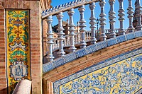 Detail of a bridge at the Plaza de Espana in Seville, southern Spain.