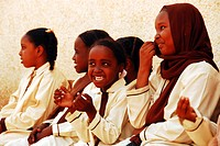 Sudan, Khartoum, group of African schoolgirls having fun together MR