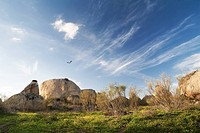 Rock formations in rural landscape