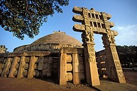 Eastern Gate in front of the Great Stupa No.1, Sanchi, Madhya Pradesh, India