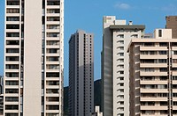 USA, Hawaii, Oahu. Density of hotels and apartments in Waikiki.