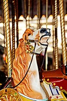 Merry go round, or Carousel, horses in Fun fair,