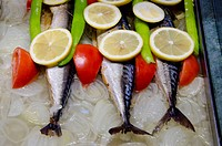 Turkey, Istanbul. Traditional Turkish food. Fresh fish with lemon, onion & tomato.