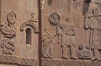 Bas_relief of David and Goliath on the exterior of the Armenian Cathedral of the Holy Cross on Akdamar Island, Van Lake, Van, Turkey