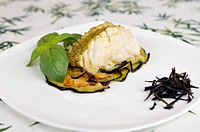 Monkfish on a bed of eggplant and basil sauce