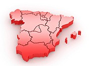 Three_dimensional map of Spain on white isolated background. 3d