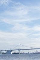 Japan, Tokyo, Rainbow Bridge in Yokohama area