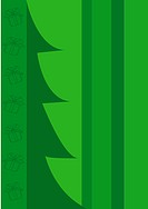 Green blank with abstract christmas tree, gift boxes, stripes