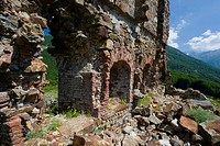 France, Corsica. Ruins of a Genoese fort and garrison at Col de Vizzavona.