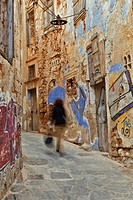 Graffiti on buildings, Chania, Crete, Greece
