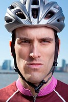 Man in cycling helmet looking straight ahead