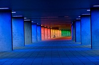 Rotterdam, Netherlands. Zone or overhead passageway for pedestrians under the Dutch Institute for Architecture, lighted with different kinds of colors...