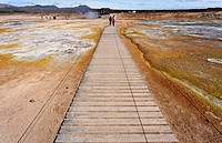 Wooden walkway across the sulphur deposits at Hverir, Iceland